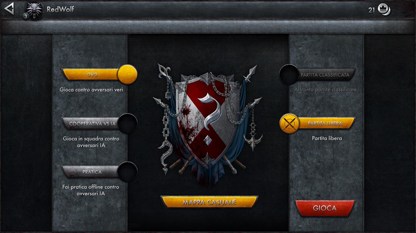 Il menù principale del giocatore novizio. Le modalità sono le più usate anche dai MOBA su PC.
