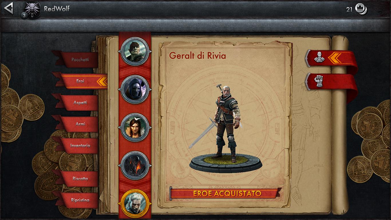 Geralt è stato il primo personaggio da noi sbloccato con la moneta di gioco. Il modello è curatissimo e fedele al personaggio.